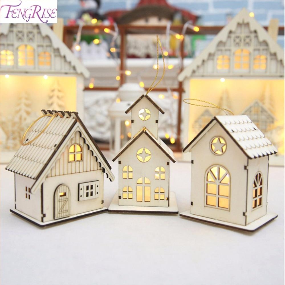 4b885a63386 Luz LED de casa de madera FENGRISE para decoraciones de árbol de Navidad  ornamento colgante DIY adornos de árbol de Navidad colgante de Navidad Año  Nuevo