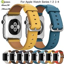 Genuine Leather Band for Apple Watch 42mm 38mm 40mm 44mm Smart Watchband for iwatch series 4 3 2 1 Bracelet Steel Classic Buckle все цены