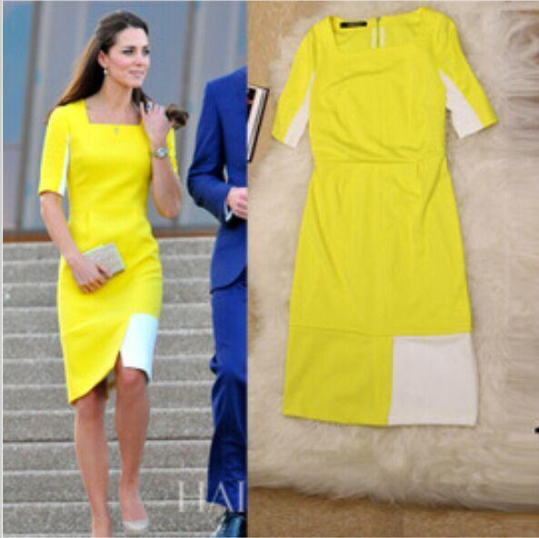 2015 Summer Celebrity Fashion New Princess Kate Middleton Dress Same Sstyle Runway Slim Women Patchwork Half Sleeve Yellow Dress