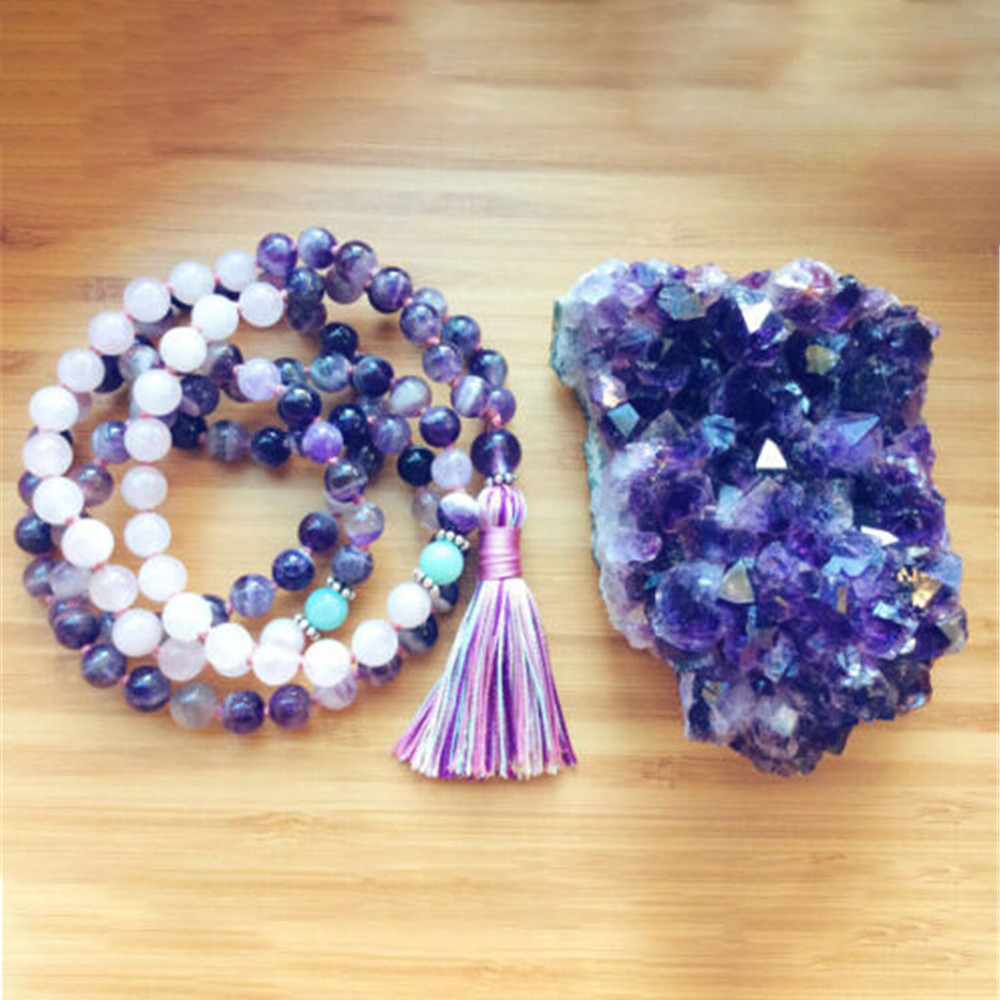 Energy 8mm Natural Purple & Pink Crystal 108 Bracelet Hand Knotted Yoga  Healing Tassel Necklace Female Meditation Mala Dropship