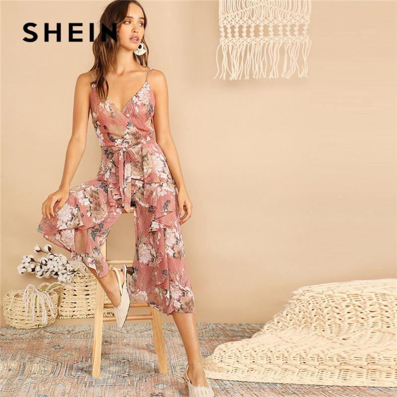 SHEIN Boho Surplice Neck Botanical Ruffle Cami Wide Leg Jumpsuit Women Deep V Neck Sleeveless Sexy Jumpsuit Summer Jumpsuit