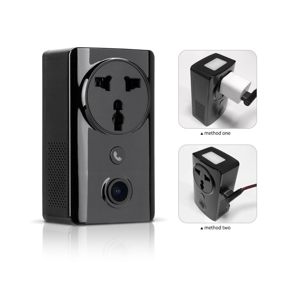 Caméra IP Socket EC59 Wifi sans fil 180 caméra panoramique Fisheye caméra de sécurité à domicile téléphone charge moniteur à distance Vision nocturne