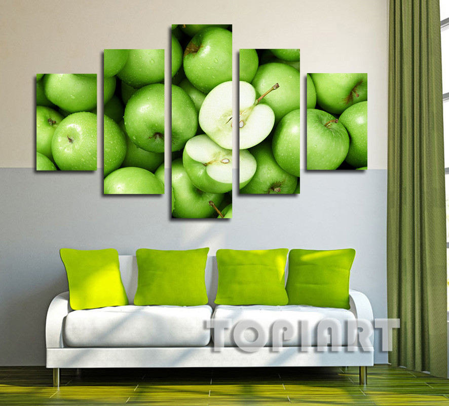 5 Panel Fresh Green Apple Art Pictures Poster Prints Kitchen Dinning Room Decoration Wall Decor Oil