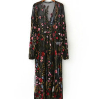 Fashion Women Vintage Black Floral Embroidery Tassel See Through Dresses Long Sleeve Cozy Causal Brand Designer