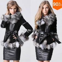 Zip Elegant Luxury Winter Leather Jacket for women clothing snow leather plus size real Fur leather Fox Fur overcoat with skirt