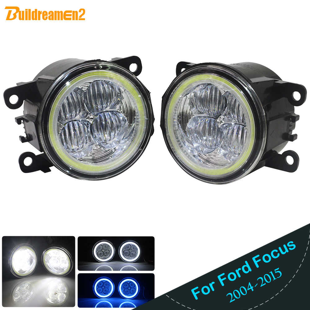 Buildreamen2 untuk Ford Fokus MK2 MK3 2004-2015 Mobil H11 LED 4000LM Kabut Lampu Angel Eye Siang Hari lampu DRL 12 V 2 Pieces