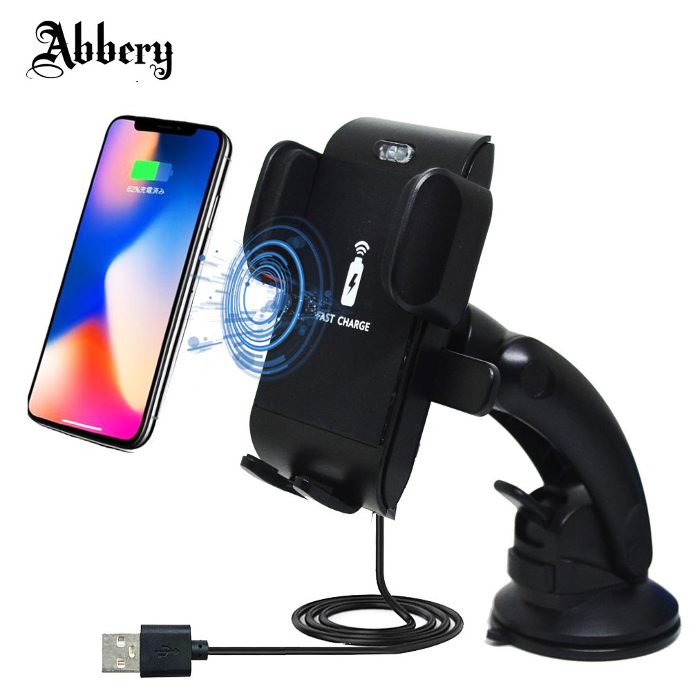 Abbery Wireless Fast Charger Car Phone Holder Dashboard Windshield Stand for iPhone X for Samsung Galaxy S8 Qi-Enable Smartphone