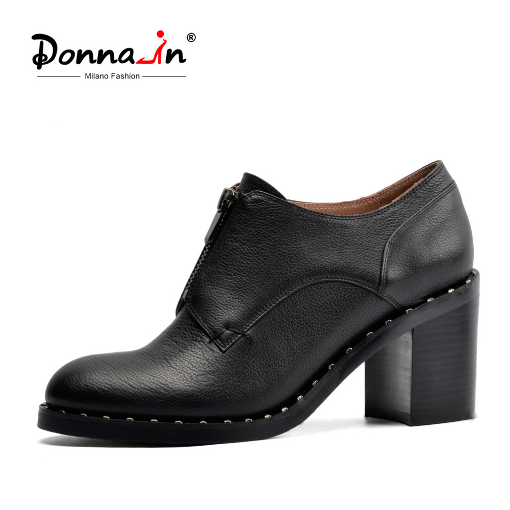Donna-in genuine leather women shoes fashion metallic zipper accessories high heel ladies shoes