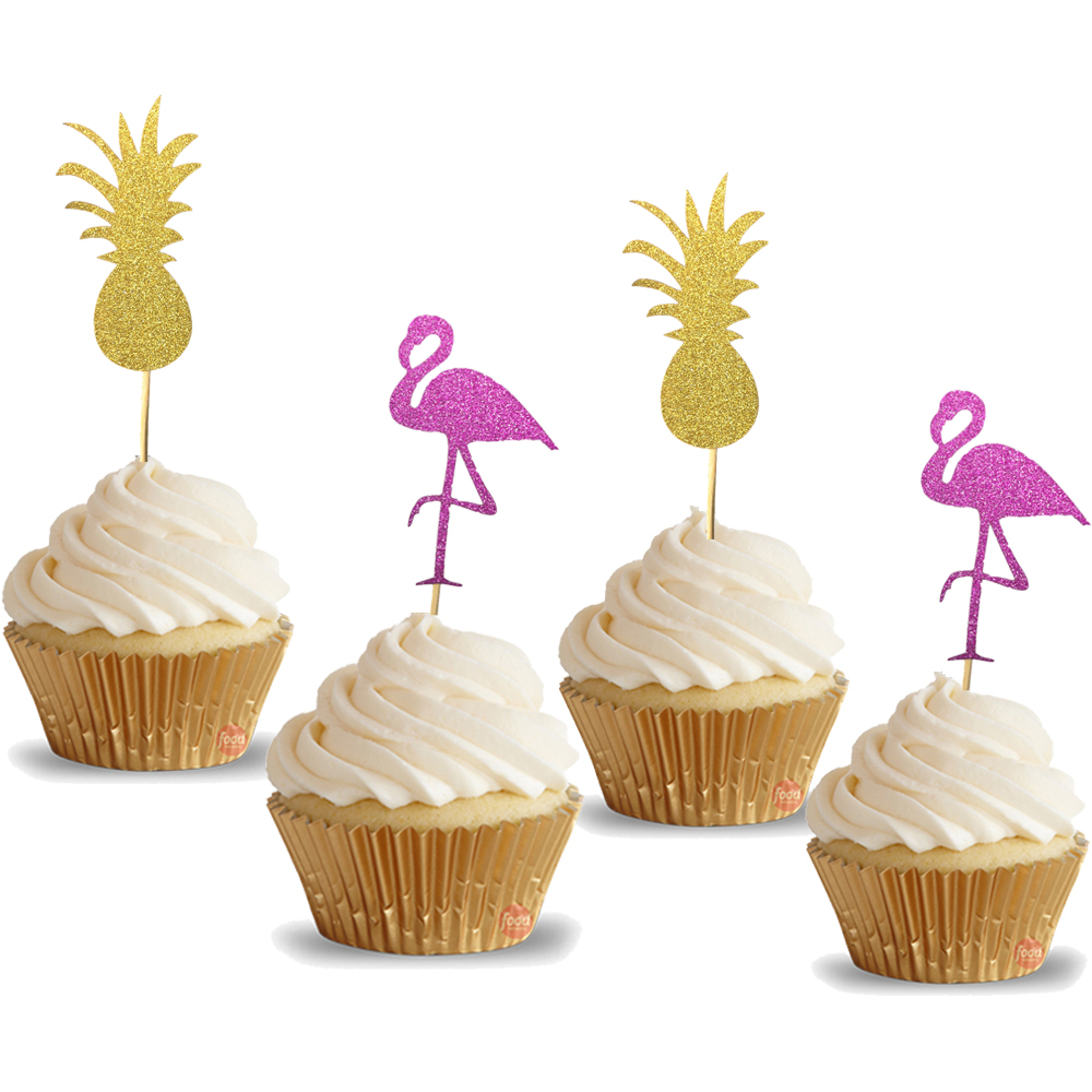 20pcs Tropical Wedding Idea Pink Flamingo Gold Pineapple ...