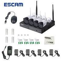 ESCAM WNK404 4CH 720P Outdoor IR Video Wireless WIFI Camcorder Camera NVR System Kit Dual Antenna IP66 Waterproof