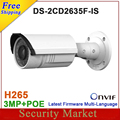 Original DS-2CD2635F-IS substituir DS-2CD2632F-IS 3MP Vari-focal CCTV IP IR Bala Câmera IP alarme De Áudio IR câmera DS-2CD2635F-IS