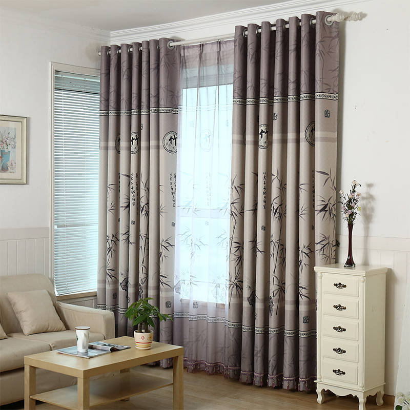 Bamboo Curtains Of Modern Chinese Style Bedroom Livingroom Printed Polyester Curtain Window Curtains