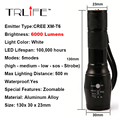 6000 Lumens Flashlight LED CREE XM-L T6 Torch Zoomable Flashlight Torch Light for 3xAAA Battery or 1x18650 Battery