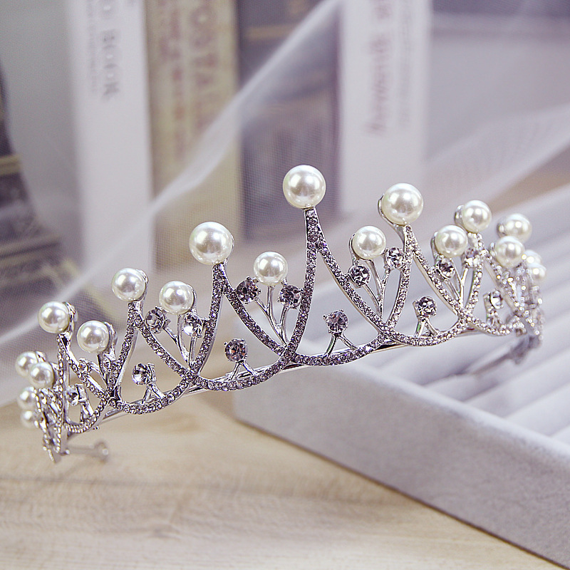 New Sparkling Crystal Pearl Tiara Crown Bridal Hair Accessories For Wedding Quinceanera Tiaras And Crowns Pageant Diamante Tiara 2