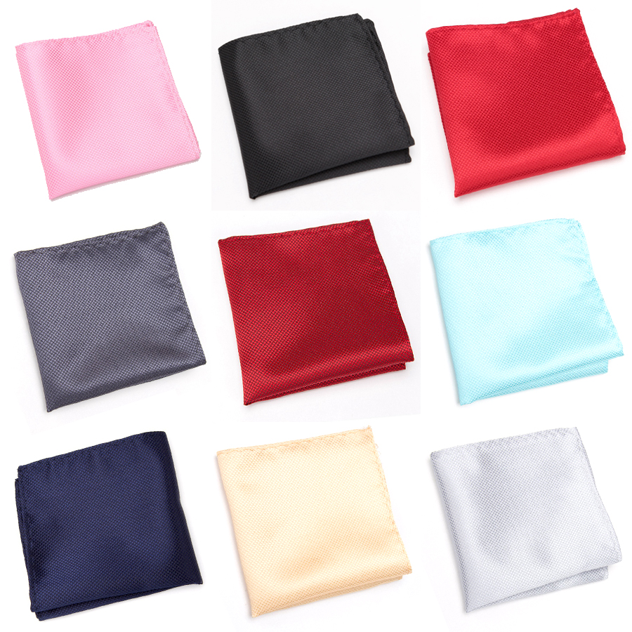 XGVOKH Cravat Fashion Pocket Square Grid Handkerchief Men Gifts Accessories Polyester Hanky Solid Color Towel Black White Tie