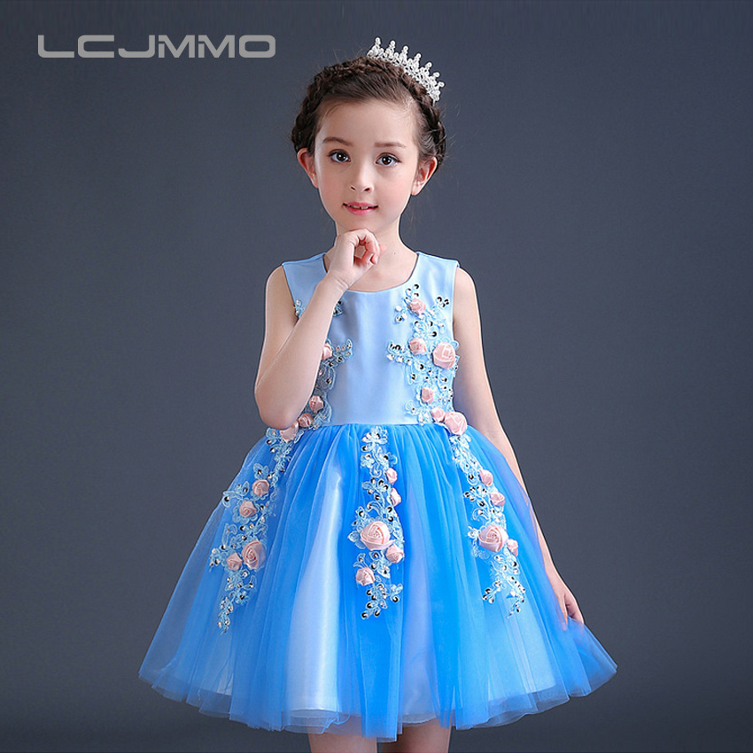 LCJMMO 2017 High Quality Girls Flower Dress Kids Sleeveless Birthday Party Butterfly Dresses Princess Bow Dress Children Clothes high quality 2size butterfly flower forming follow board easy magic making template mould for fabric flower design tool