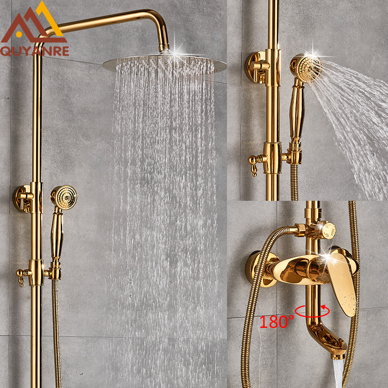 Quyanre Golden Shower Faucets Set Ultrathin Gold Shower Wall Mounted Gold Shower Mixer Tap Swivel Tub Spout 3-way Mixer Tap Set quyanre matte black shower faucet set 4 way shower with commodity shelf bidet spray swivel tub spout 4 way mixer tap bath shower
