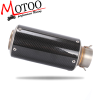 Motoo 61mm Universal Motorcycle Exhaust Muffler Modified Exhaust Carbon Fiber