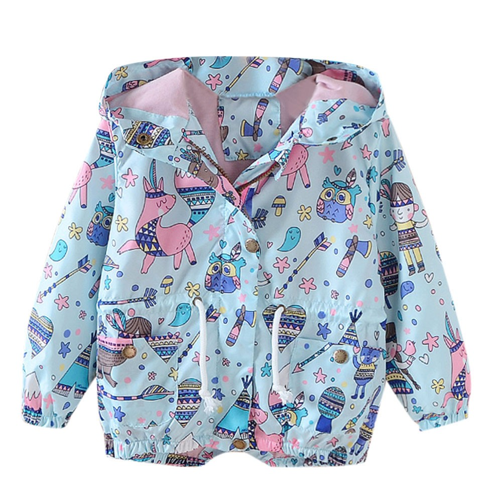 Children Kid Boys Girls Spring Autumn Cartoon Print Trench Jacket Outwear Coat Wholesale&Dropshipping