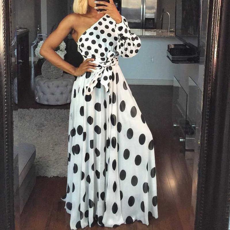 Женское Повседневное платье в горошек с принтом, летнее сексуальное платье на одно плечо, длинное платье макси с длинным рукавом, элегантное Клубное платье с поясом Vestidos