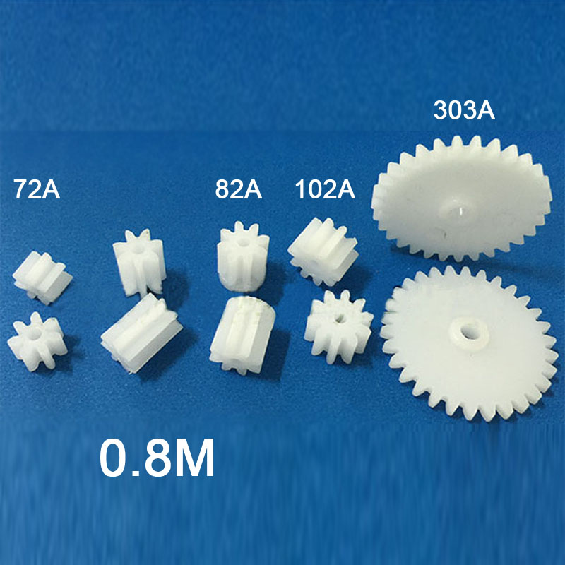 [Sample 10PCS] Modulus M = 0.8 Plastic Tooth Gear 72A 82A Shoulder 102A 303A 0.8M Gears Toy Accessories