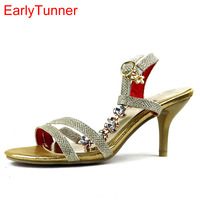 ARMOIRE 2015 New Sexy Women Crystal Sandals Red Gold Silver Ladies High Heel Fashion Shoes Open