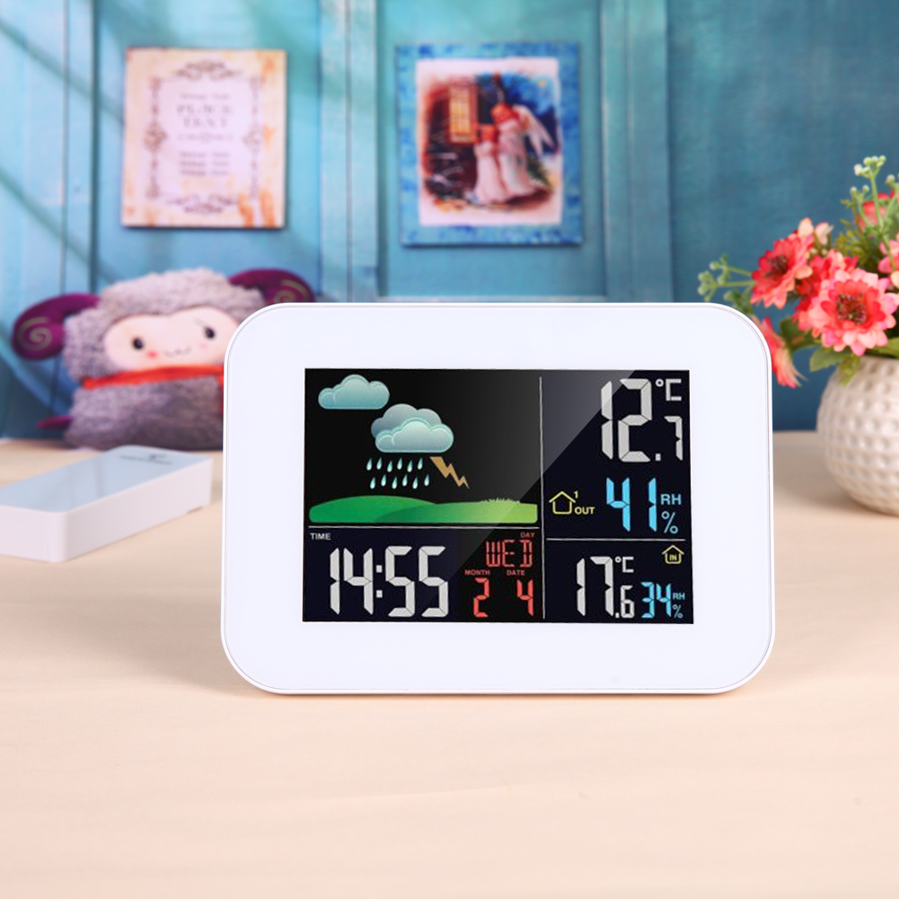 433MHz LCD RF Indooor Wireless Forecast Weather Station Thermometer Hygrometer Temperature Humidity Tester Alarm Clock wireless weather station temperature humidity sensor colorful lcd display weather forecast home decoration xmas gift