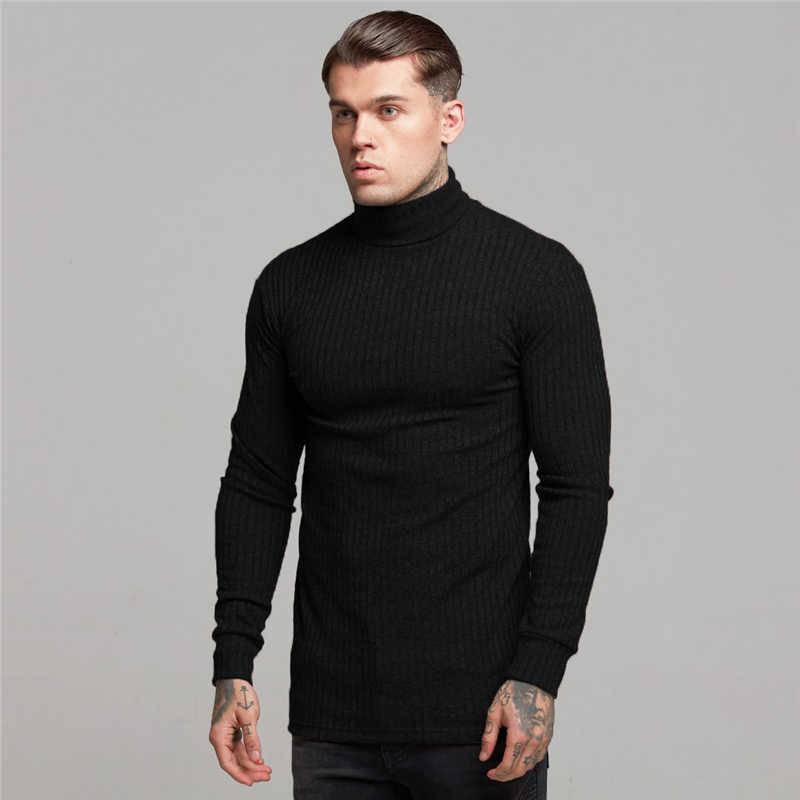 새로운 패션 겨울 스웨터 남자 따뜻한 터틀넥 남성 스웨터 슬림 맞는 풀오버 남자 클래식 Sweter 남자 니트 당겨 옴므