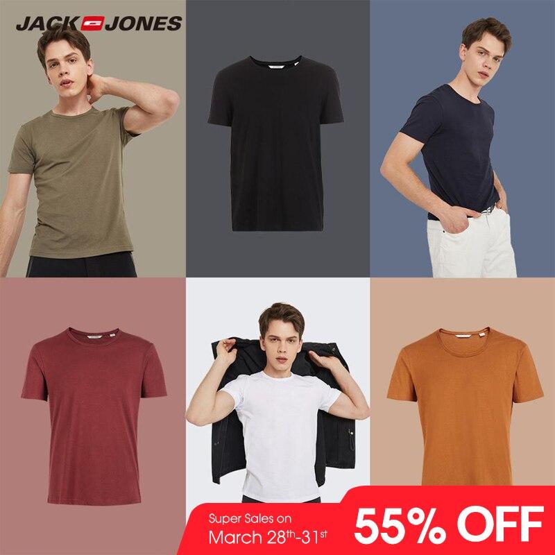 JackJones 2019 nueva marca de algodón de los hombres T camisa de colores sólidos camiseta Top de moda camiseta hombres camiseta más colores 3XL 2181T4517