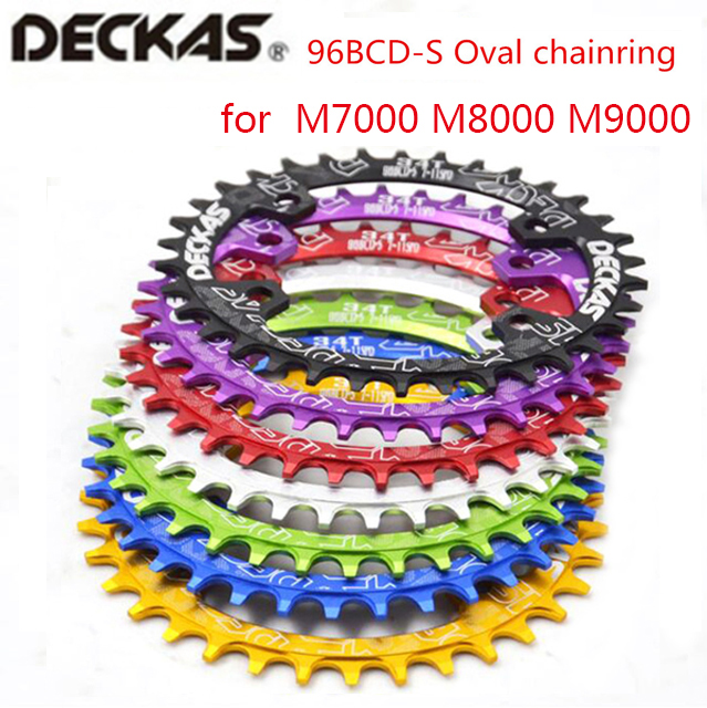 Deckas oval <font><b>Chainring</b></font> MTB Mountain bike bicycle chain ring BCD 96mm 32/34/36/38T plate 96bcd for 7-11 speed <font><b>M7000</b></font> M8000 M9000 image