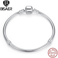 Authentic 100 925 Sterling Silver Snake Chain Bracelet Bangles Compatible With Pandora Luxury Fashion Jewelry S902