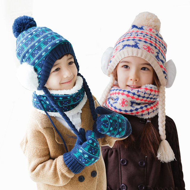 Children hats scarf gloves three - piece warm autumn winter boys girls baby caps  collars sets af6979075282
