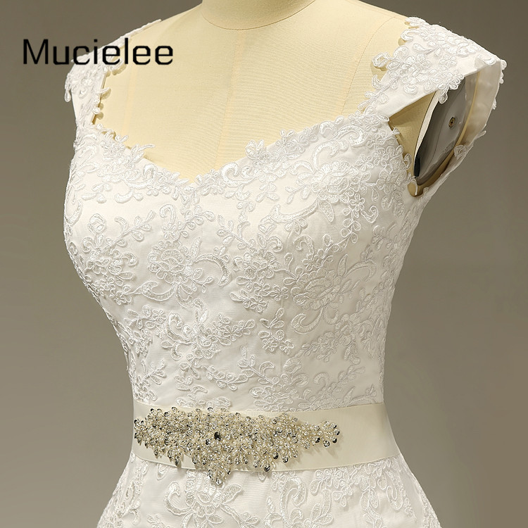 Pearls Sashes Elegant Mermaid Lace Wedding Dress