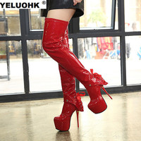 Winter Sexy Patent Leather Extreme High Heels Over The Knee Boots Fashion Platform Shoes Woman Thigh