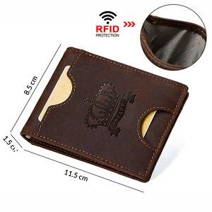 Image 2 - Kontakts skóra Crazy Horse mężczyźni portfel na pieniądze Rfid solidne męskie torebki z portmonetka na monety na zamek etui na karty wysokiej jakości