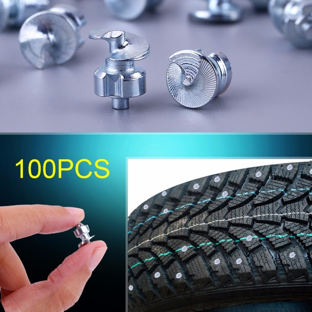 100PCS Wheel Tyre Stud Screws with Sleeve Winter Snow Tire Spikes with Sleeve Anti-Slip Screws for Car ATV Motorcycle Bike Shoes