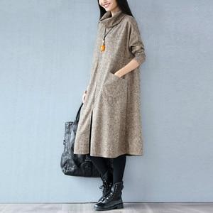 Image 2 - Women Autumn Winter Dress Solid Casual Fashion Turtleneck Cashmere Loose Lady Big Size Female Long Sleeve Plus Size New Dresses