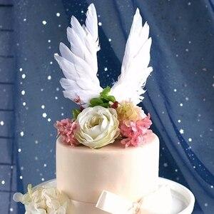Image 3 - 天使の羽の旗ストリングライト天使のキャンドル結婚式のためのケーキトッパーセットパーティーの装飾誕生日ケーキフラグベーキング装飾