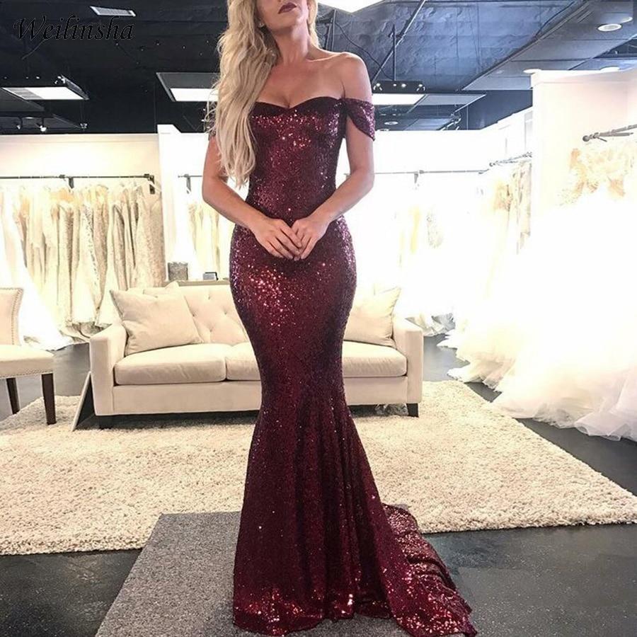 Weilinsha Burgundy Sequined Mermaid Prom   Dress   Off-the-Shoulder Sweep Train   Evening     Dresses