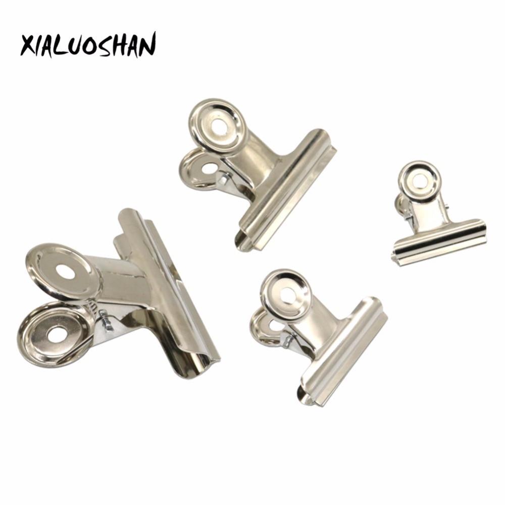 10 Pcs Metal Bill Clip Silver Bulldog Clip Stainless Steel Ticket Clip Stationery Bills Metal Clip Office School Supplies