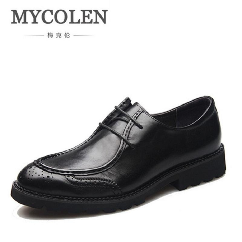 MYCOLEN Luxury Brand Men Oxfords Shoes Round Toe Genuine Leather Dress Party Shoes Wedding Shoes Business Flats Shoes pjcmg spring autumn men s genuine leather pointed toe slip on flats dress oxfords business office wedding for men flats shoes