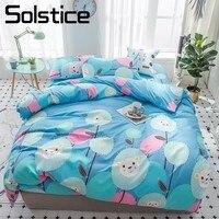 Solstice Home Textile Dandelion Cyan Bedding Set Children Teen Boy Girl Bedclothes King Single Duvet Cover Pillowcase Flat Sheet