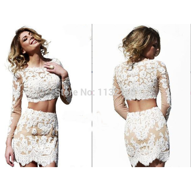 Modern two pieces Lace homecoming dresses, Sexy mini long sleeves ...