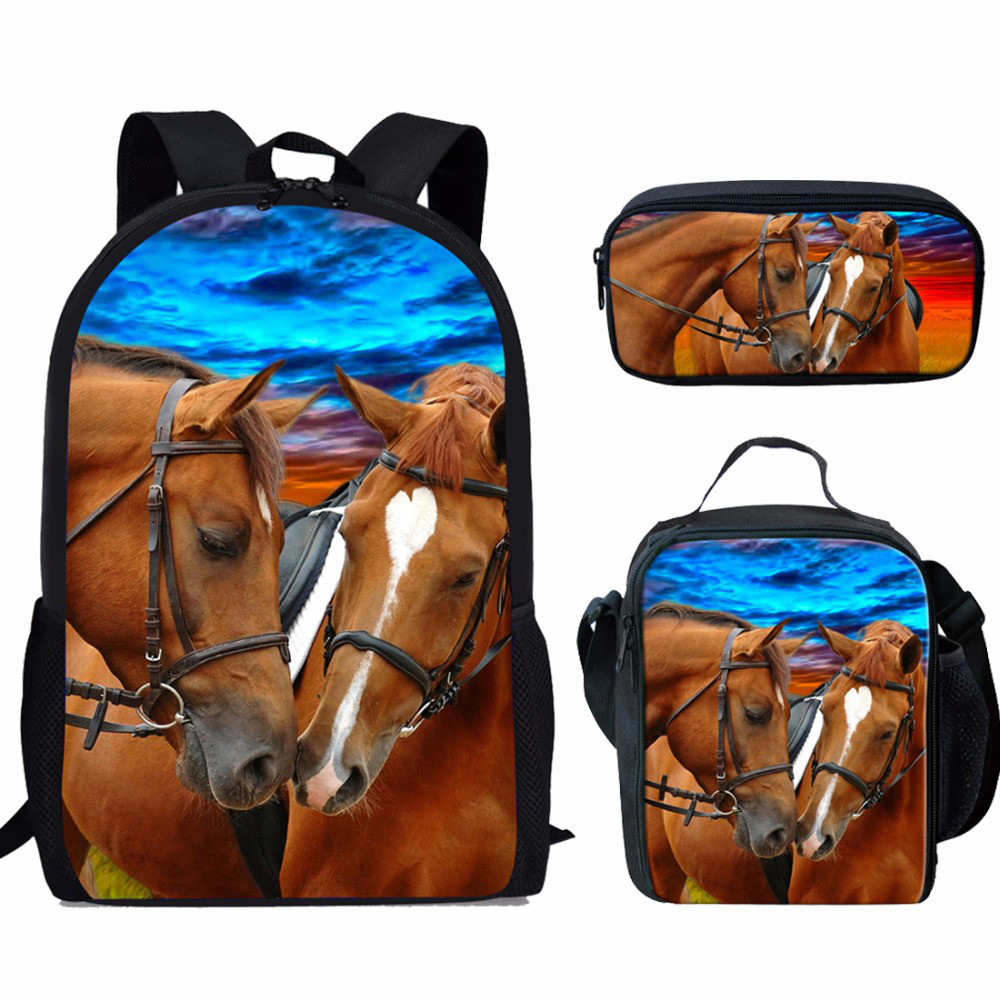 ThiKin Children School Bags for Girls Backpack Kids Cool Horse Printing Schoolbag Set Primary School Backpack