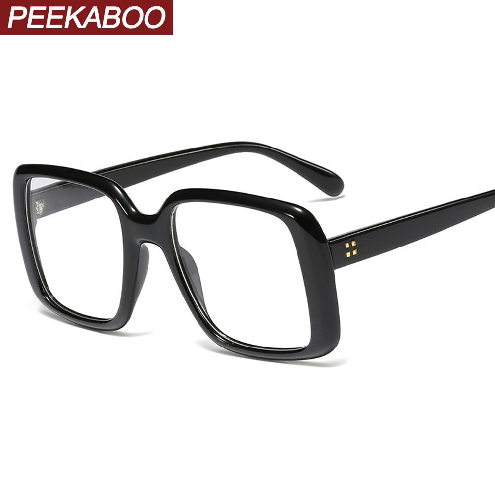 Peekaboo black big glasses for women trend accessories clear lens square eyeglasses for men oversized decoration gifts