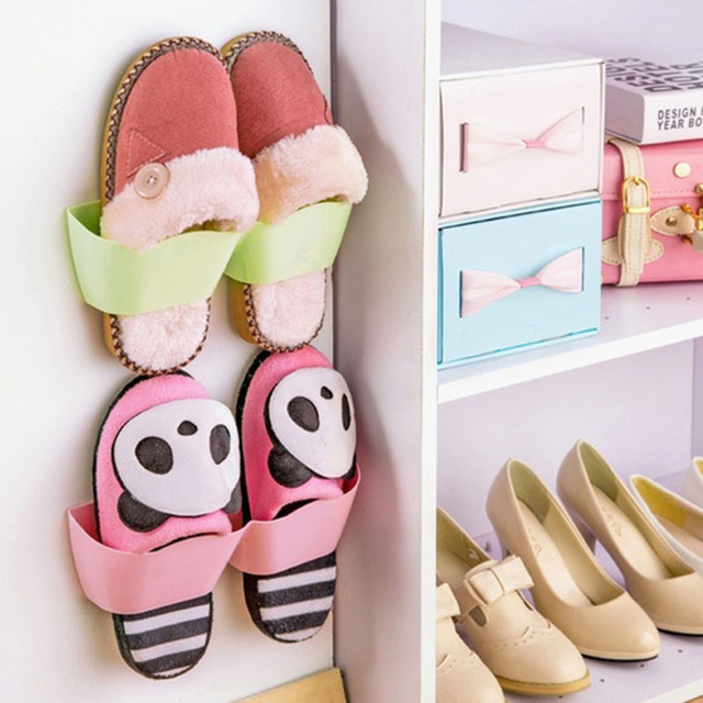 Beau Cute Bathroom Storage Shelf,suction Wall Shoe Rack,candy Colour Shoes Shelf  2016 New