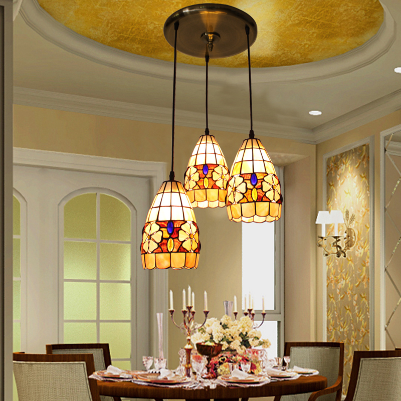 Mediterranean Style Natural Shell Shade Led <font><b>Pendant</b></font> <font><b>Light</b></font> Dining Room <font><b>3</b></font> Head Luminaire Suspendu lustre pendente image
