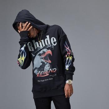 Latest Hip Hop kanye west RHUDE x Maxfield OVERSIZE Men Women 18ss Fashion Skateboard Pullover Hoodie Sweatshirt Clothes Cotton