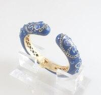 Free Shipping Fashion Enamel Bracelets Banlges Enamel Black Color Crystal Clear Color With Gift Bag And