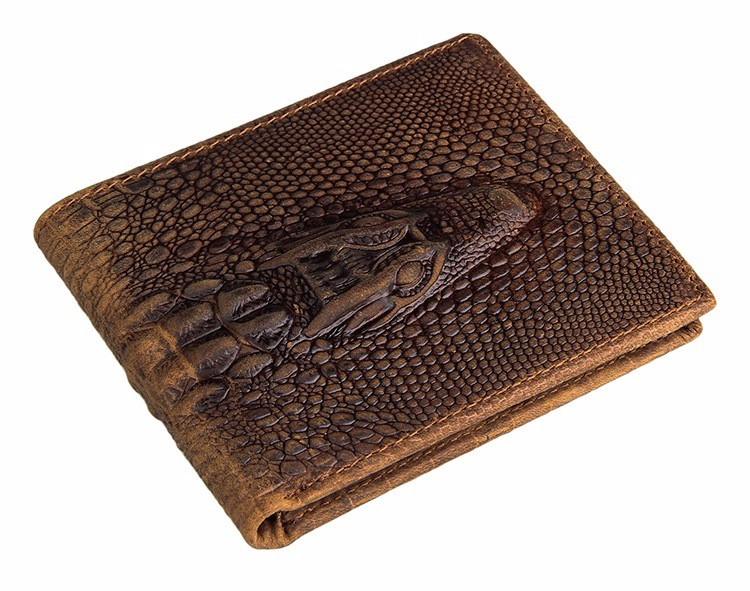 Crocodile Pattern Crazy Horse Leather Men Business Biofold Wallet Handbags Purse